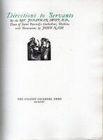 Directions to Servants. by GOLDEN COCKEREL PRESS. NASH, John. SWIFT, Rev. Jonathan.