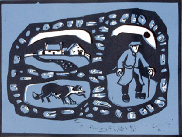 The Farmer, His Dog and His Cottage. by WILLIAMS, Kyffin (1918-2006)