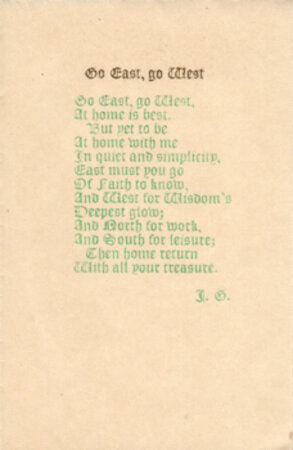 Go East, go West. Christmas Card with a poem by James Guthrie. by PEAR TREE PRESS. GUTHRIE, James.