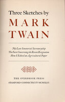 Three Sketches by Mark Twain. by OVERBROOK PRESS. TWAIN, Mark.