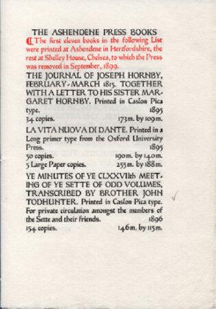 A Hand-list of the Books Printed at the Ashendene Press MDCCXCV - MCMXXV. by ASHENDENE PRESS.