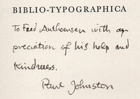 Biblio-Typographica. A Survey of Contemporary Fine Style. by [PRINTING]. JOHNSTON, Paul