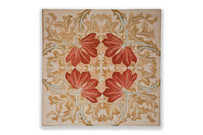 Original panel of silk needlework by Morris & Co with stylised acanthus. by MORRIS & CO.
