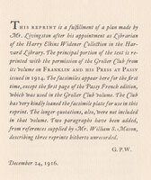 Benjamin Franklin's Parable Against Persecution With an Account of the Early Editions. by [ROLLINS, Carl Purington]. LIVINGSTON, Luther S.