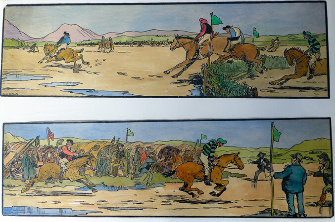 The Strand Races. 1. The Start of the Race. 2. The Finish. by YEATS, Jack B. (1871-1957). CUALA PRESS.