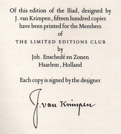 The Iliad of Homer. Translated by Alexander Pope with the introduction by Mr. Pope. by LIMITED EDITIONS CLUB. ENSCHEDE. POPE, Alexander.