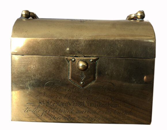 Book of Common Prayer in a brass carrying case. by ST. STEPHEN'S, EAST TWICKENHAM.