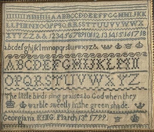 George III needlework sampler by Georgiana King, dated March 13th 1799. by NEEDLEWORK SAMPLER. KING, Georgiana.