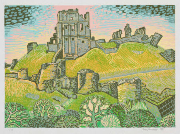 Corfe Castle with a Pink Sky. by GARDINER, Rena.