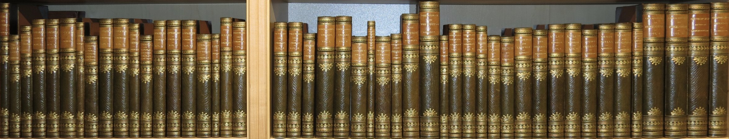 Politics for the People; Saint's Tragedy; Twenty-five Village Sermons; Alton Locke, Tailor and Poet, 2vols.; Yeast; Phaeton; Sermons on the National Subjects; Hypatia; Alexandria and her Schools; Sermons on National Subjects (2nd series); Westward Ho! 3 vols.; Sermons for the Times; Glaucus; Heroes, or Greek Fairy Tales; Two Years Ago, 3 vols.; Andromeda; Miscellanies, 2 vols.; Good News of God; Limits of Exact Science; Town and Country Sermons; Gospel of the Pentateuch; Water Babies; Roman and the Teuton; David, Four Sermons; Hereward the Wake, 2 vols.; Ancient Regime; Water of Life; Discipline; Madame How and Why; The Hermits; At Last, 2 vols.; Town Geology; Prose Idylls; Health and Education; Lectures delivered in America in 1874-1875; Charles Kingsley, his Letters, and Memoirs of his Life, 2vols.; South by West or Winter in the Rocky Mountains and Spring in Mexico; Westminster Sermons. by KINGSLEY, Charles