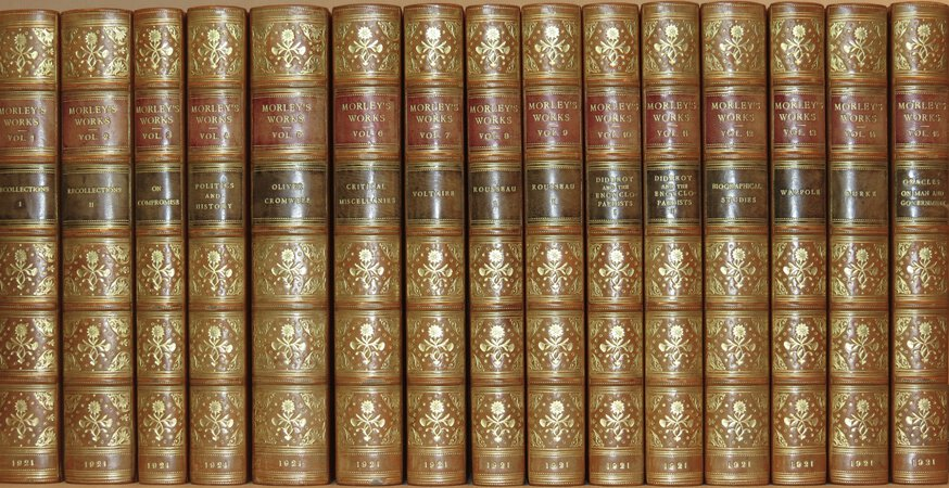 The Works of Lord Morley. Edition de Luxe. (Titles include: Oliver Cromwell; Voltaire; Rousseau; Diderot; Walpole & Burke). by MORLEY, Lord