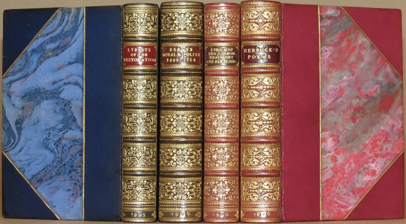 The Chapbooks: Lyrists of the Restoration; Essays Moral and Polite; The Lyrics of Ben Johnson, Beaumont and Fletcher; The Poems of Robert Herrick. by HERRICK, Robert; JONSON, Ben; BEAUMONT, Francis; FLETCHER, John; MASEFIELD, John and Constance (selected and edited).