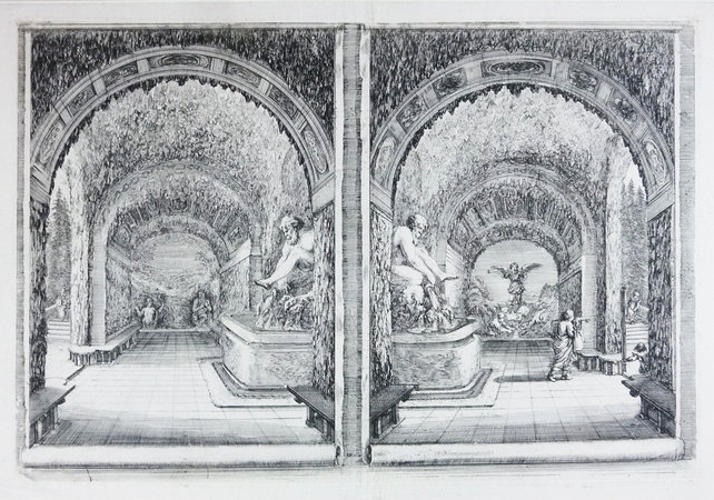 "ETCHING. ""View Of The Grotto Of Pan And Fame."" by (Pratolino) DELLA BELLA, Stephano."