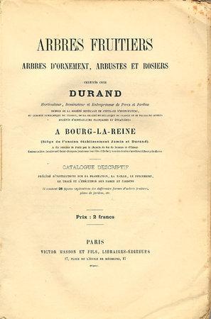 ARBRES FRUITIERS, ARBRES D'ORNEMENT, ARBUSTES ET ROSIERS by (Durand)