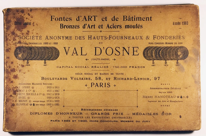 FONTES D'ART ET DE BATIMENT. BRONZES D'ART ET ACIERS MOULÉS. by (Trade Catalogue - Decorative Iron Work) VAL D'OSNE, Société Anonyme Des Hauts-Fourneaux & Fonderies du.