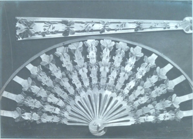 DISPLAY ALBUM OF DECORATIVE FAN PARTS. by (ANONYMOUS).