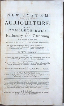 A NEW SYSTEM OF AGRICULTURE. by  Laurence, John.
