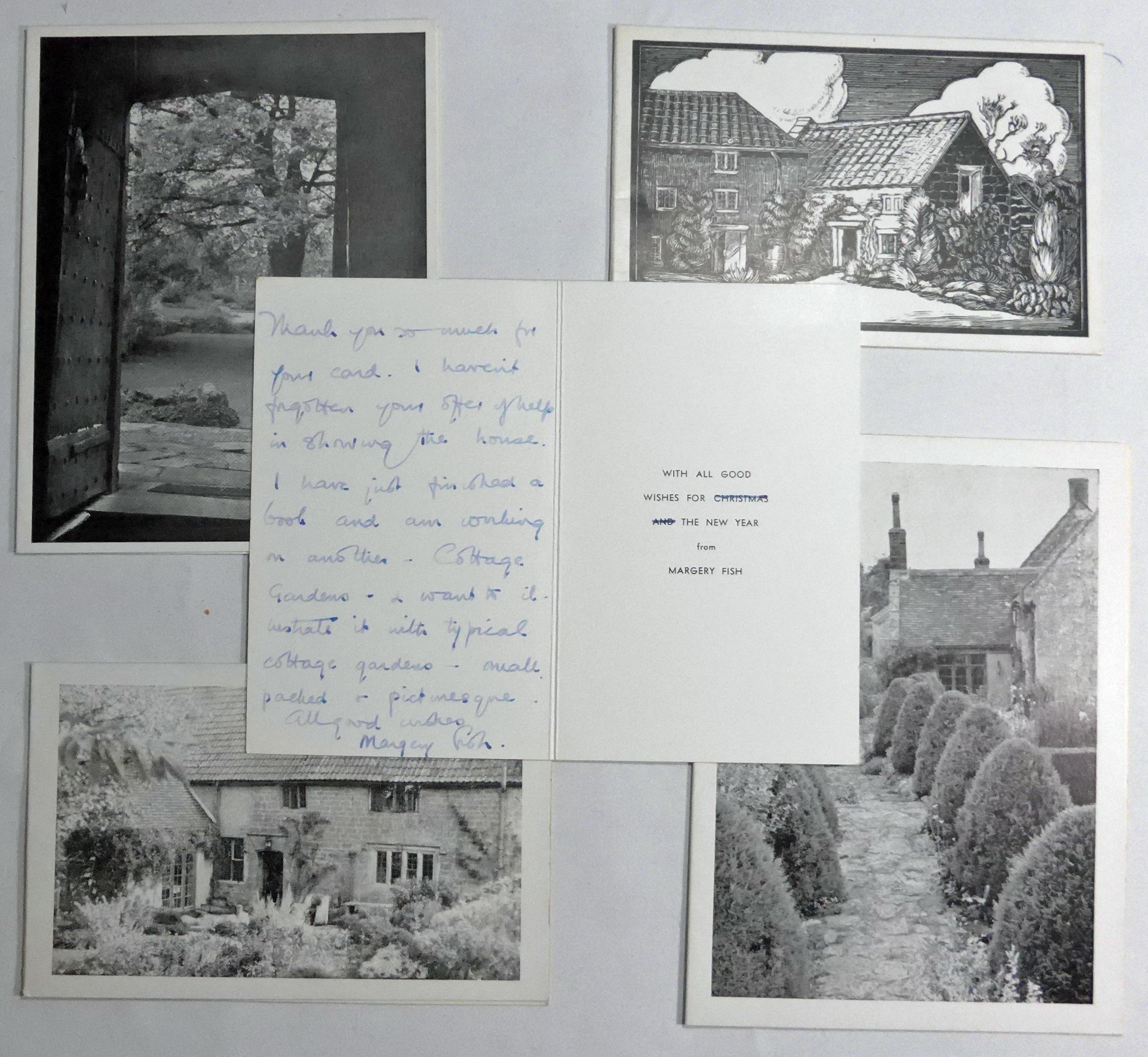 FIVE CHRISTMAS CARDS FROM EAST LAMBROOK MANOR by FISH Margery