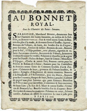 AU BONNET ROYAL, by (SARAGOSSE)