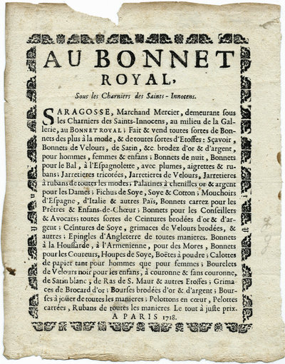 AU BONNET ROYAL, by (Broadside -MILLINERY) (SARAGOSSE)