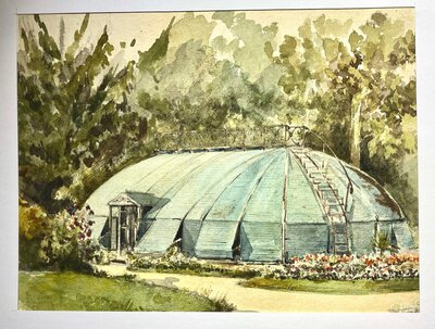 "AN UNUSUAL VIEW OF ""CLAIES"" COVERING A GLASSHOUSE. by French Watercolour."