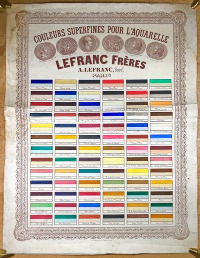 COULEURS SUPERFINES POUR L'AQUARELLE. by (COLOUR) LEFRANC FRÈRES.