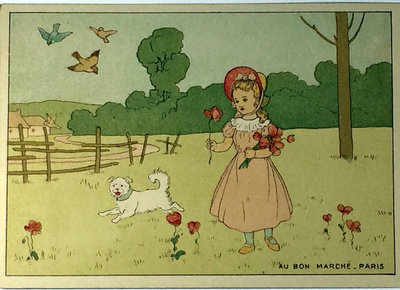 A COLOURING CARD FOR CHILDREN by (Chromolithographed Advertising Card) (Au Bon Marché)