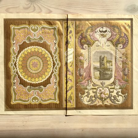 Chromolithographed illustration sheet for book binding. by Book Arts)) H. Echillet.