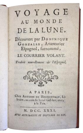 Voyage au Monde de la Lune, by GODWIN, Francis (1562-1633).BAUDOIN, Jean, (1564-1650), translator.