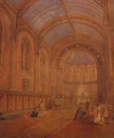 Watercolour Prespective of the Interior of Scarthingwell Roman Catholic Church of Immaculate Conception and St John of Beverley, North Yorkshire by ATKINSON Thomas Witlam (1799-1861) [?]