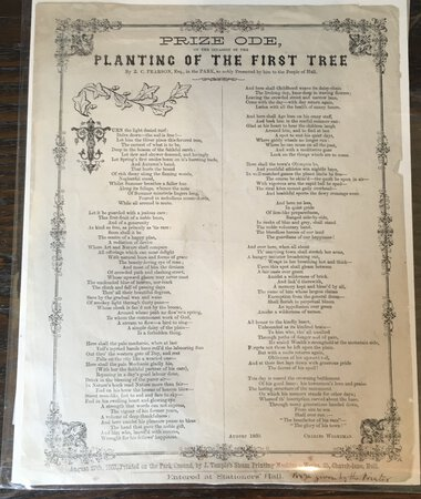 Proceedings relative to Pearson's Park by ODE TO TO PLANTING OF THE FIRST TREE [PEARSON PARK] SMITH James, [collected, arranged and stereotyped by]