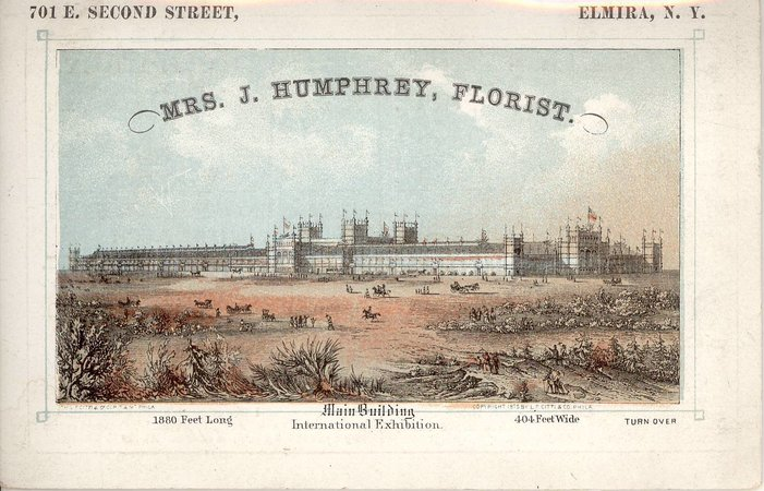 Mrs. J. Humphrey, Florist by [Centennial Exhibition in Philadelphia]