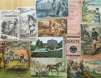 Collection of fourteen trade cards advertising lawn mowers by LAWN MOWERS - TRADE CARDS