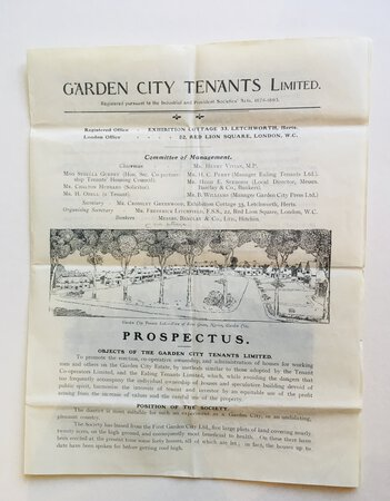 Garden City Tenants Limited Prospectus [Letchworth] With Application form for shares etc. by [LETCHWORTH]