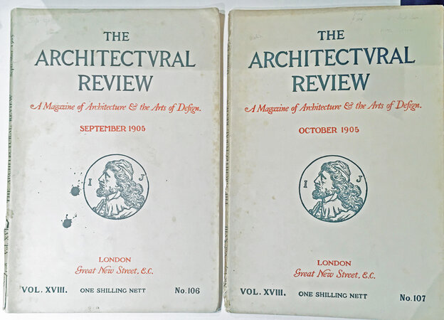 The Architectural Review: Vol. xviii September 1905, No. 106 and Vol. xviii October 1905, No. 107 by CHEAP COTTAGE AND SMALL HOUSE EXHIBITION REVIEW GOODYER, H and KEMPTON DYSON, H. et al [Comprehensive articles on Letchworth Exhibition]