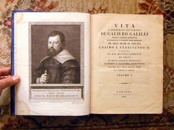 1793 GALILEO Two Volume Set RARE & IMPORTANT ITALIAN SCIENTIFIC BIOGRAPHY w/ PLATES by Galileo Galilei