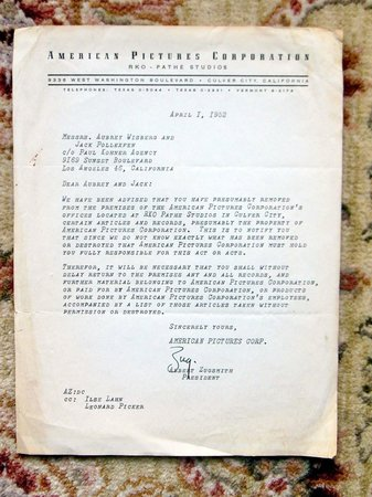 1952 Original FILM STUDIO LETTER ACCUSING ITS CO-FOUNDER OF THEFT - SIGNED by Albert Zugsmith