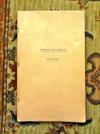1933 ORIGINAL RELEASE SCRIPT / SCREENPLAY - PRIVATE LIFE OF HENRY VIII - Starring CHARLES LAUGHTON by Lajos Biro, Alexander Korda, Charles Laughton