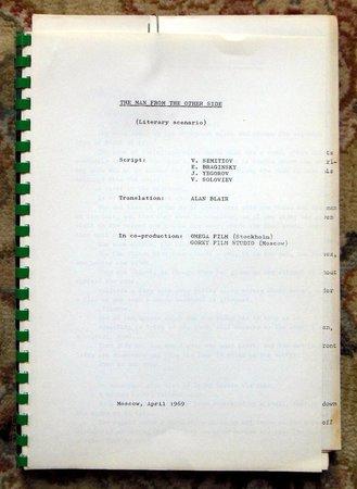 "1969 SCRIPT RUSSIAN-SWEDISH FILM ""MAN FROM THE OTHER SIDE"" Emil BRAGINSKY Rare by Volodya SEMITJOV, Emil BRAGINSKY, Yuri EGOROV, and V. SOLOVIEV"