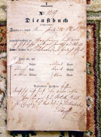 1848 Dienstbuch - Eighteen Year Old GERMAN SERVANT GIRL'S I.D. STATUS & DUTIES DOCUMENT - SERVICE IDENTIFICATION BOOK