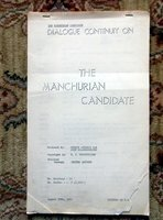 1962 THE MANCHURIAN CANDIDATE - ORIGINAL DIALOGUE CONTINUITY SCRIPT / SCREENPLAY by John Frankenheimer