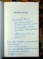 WILLIAM EVERSON (Brother Antoninus) - BLOOD OF THE POET - WONDERFUL LONG INSCRIPTION by EDITOR First Edition by William Everson, Brother Antoninus, Albert Gelpi