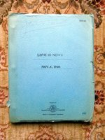 """1936 Original SCREENPLAY / SCRIPT """"LOVE IS NEWS"""" Copy of Actress JANE DARWELL Starring TYRONE POWER, LORETTA YOUNG and DON AMECHE by Harry Tugend and Jack Yellen"""