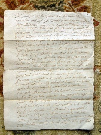 1724 HANDWRITTEN SIGNED DOCUMENT from LIMOGES, FRANCE w/ OFFICIAL LIMOGES SEAL by NOTAIRE ROYAL