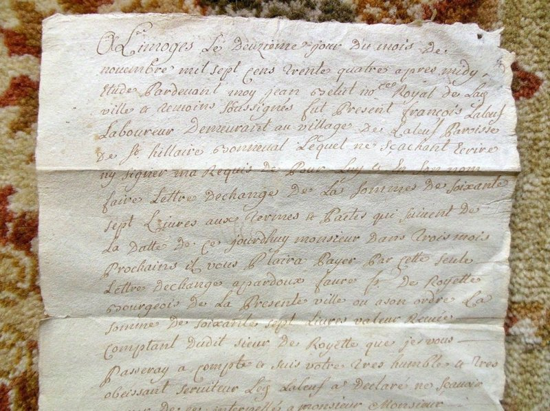 1724 handwritten signed document from limoges france w On notaire limoges