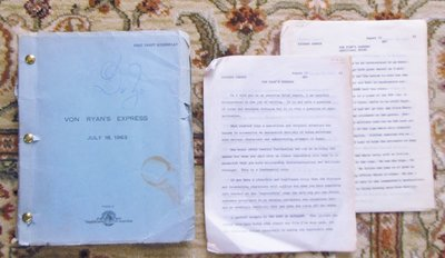 1963 VON RYAN'S EXPRESS DRAFT SCREENPLAY - DARRYL ZANUCK'S COPY w/ MANY NOTES & EDITS Plus 2 LETTERS from ZANUCK re: BAD SCRIPT, NEEDS MY HELP by David Westheimer, Saul David, Darryl Zanuck, Richard Zanuck