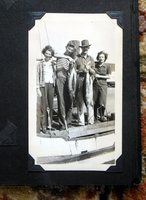 1950s FAMILY PHOTO ALBUM w/ 50 SNAPSHOTS in BOATS on BEACH with BIG FISH