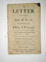 1719 SIR RICHARD STEELE to the EARL OF OXFORD Concerning the BILL OF PEERAGE by Richard Steele