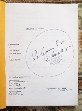 1976 Early Draft SCREENPLAY of GRAHAM GREENE Novel HONORARY CONSUL by Graham Greene, John Melson