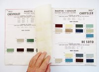 1951 MARTIN SENOUR AUTOMOTIVE FINISHES CATALOG SUPPLEMENT with 145 COLOR SAMPLE CHIPS.